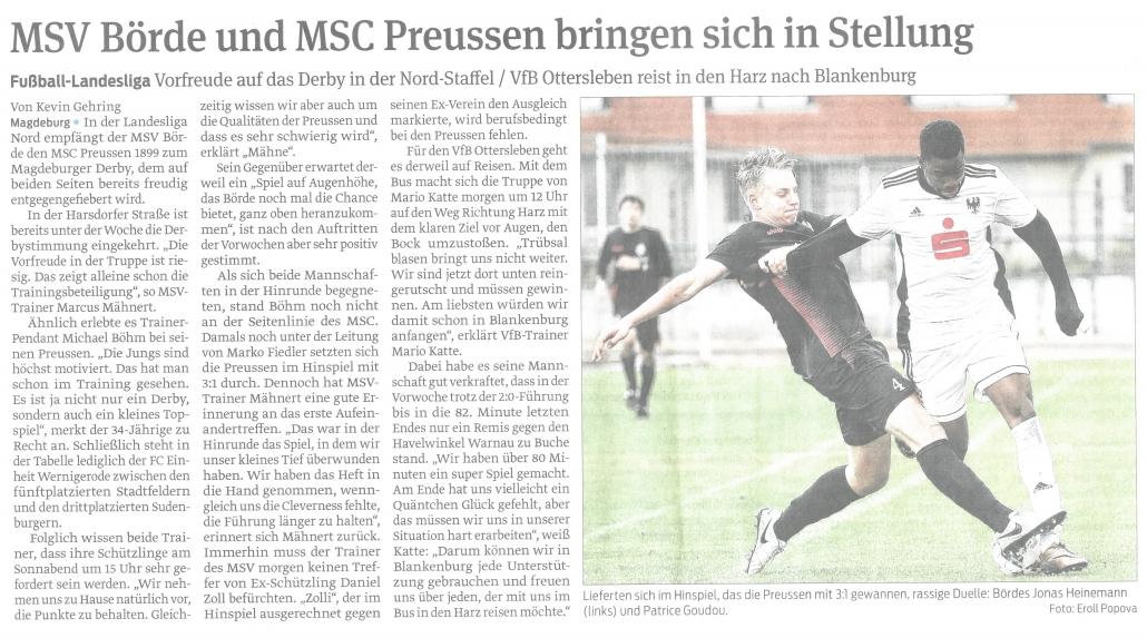 MSV Börde und MSC Preussen bringen sich in Stellung